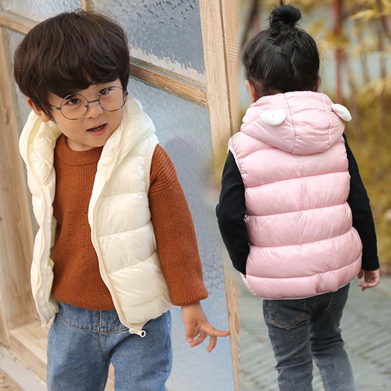 Çocuklar Fleece Katı Yelekler Yelekler Kız Erkek Dış Giyim Kapşonlu Beyaz Kulak Çocuklar Hendek Sonbahar İlkbahar Bebek Kolsuz Yelek Parkası
