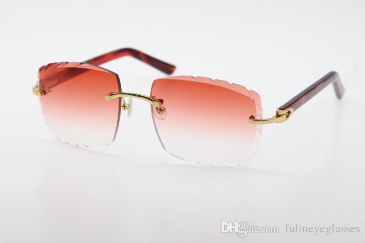 Großhandel Verkauf Randlos Optical 3524012-A Original Sonnenbrille Marmor Rote Planke Hohe Qualität C Dekoration Geschnitzte Linsen Glas Unisex
