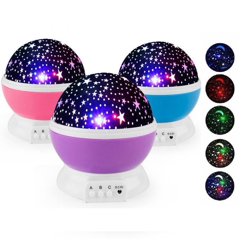 romántico cielo estrellado de la noche llevó el proyector de luz juguetes luminosos novedad del USB de la batería luz de la noche de cumpleaños creativo juguetes para los niños