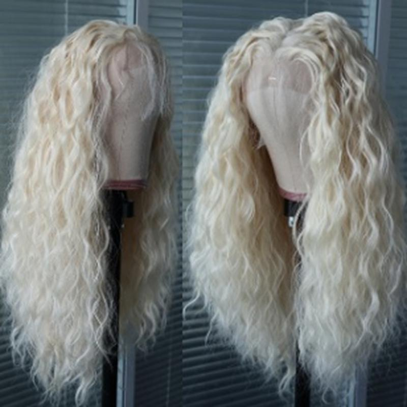 Natural Hairline Loose Curly Lace Front Wig With Baby Hair High Temperature Fiber Synthetic Wig for Women