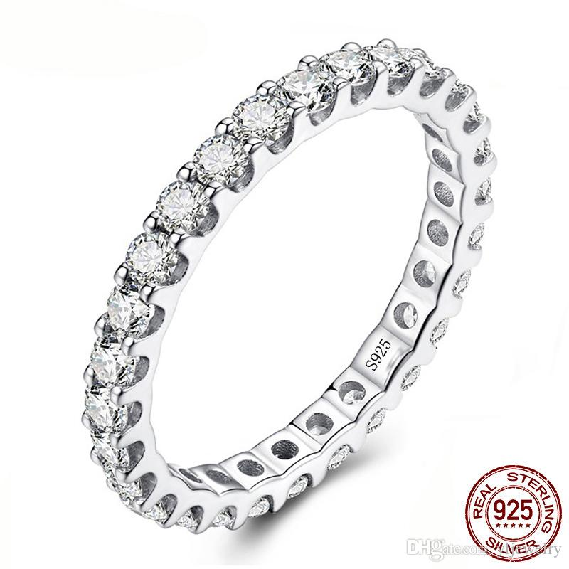 Classic Fashion Wedding Engagement Ring Solid 925 Sterling Silver Full CZ Diamond Rings Fine Jewelry Gift For Women XR326