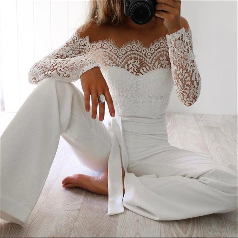 En Yeni Kadın Dantel Çiçek Beyaz Renk Uzun Kollu Tulum Romper Clubwear tulum BODYCON Parti Pantolon kadın