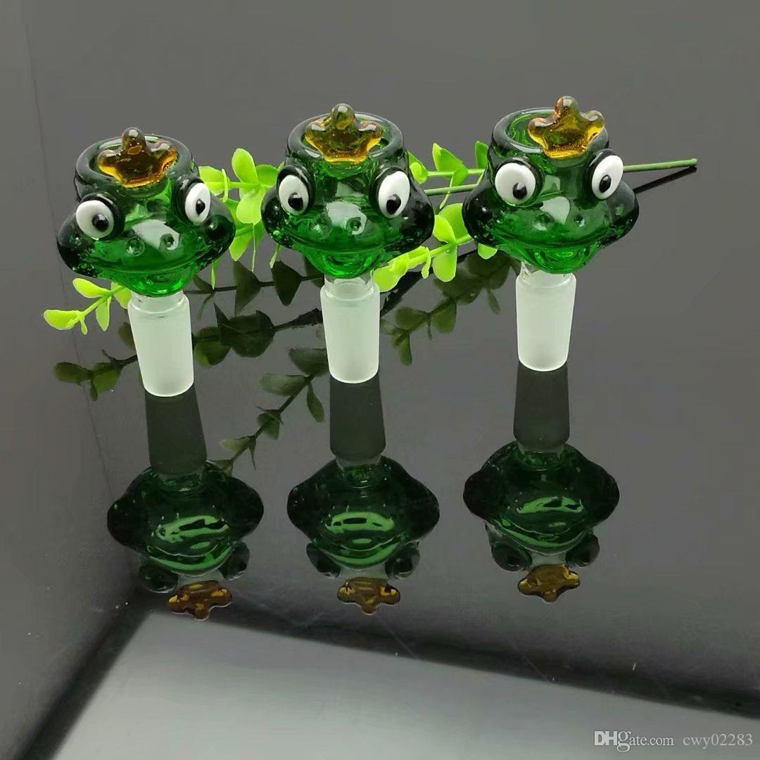 녹색 개구리 버블 헤드 도매 Bongs 오일 버너 파이프 물 파이프 유리 파이프 오일 리그 오일