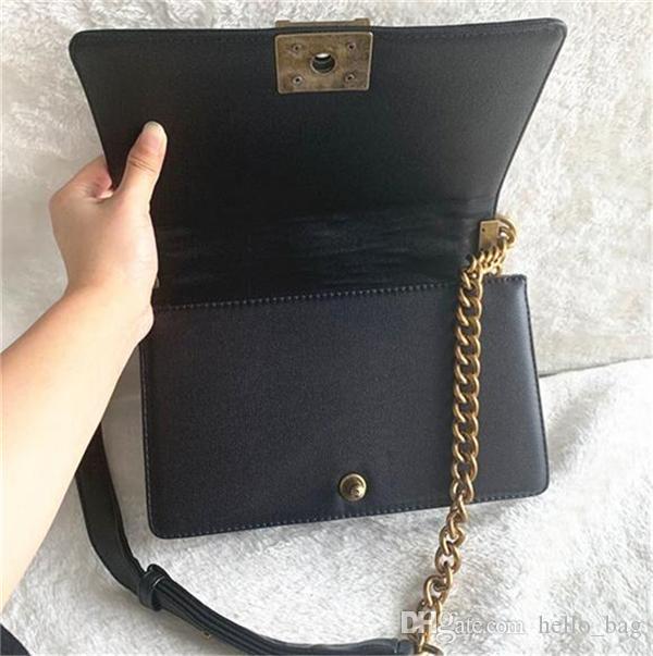 Klassische 25 cm Kette Tasche Flap Designer Taschen Gute Qualität Frauen Plaid Kette Handtasche Leder Geldbörse Crossbody Umhängetasche