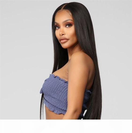 A اللون الطبيعي الهندي 13 * 4 الشعر الجبهة الرباط الباروكات الإنسان حريري تصفيفة الشعر مستقيم 150٪ الكثافة 8 -26 بوصة شحن مجاني