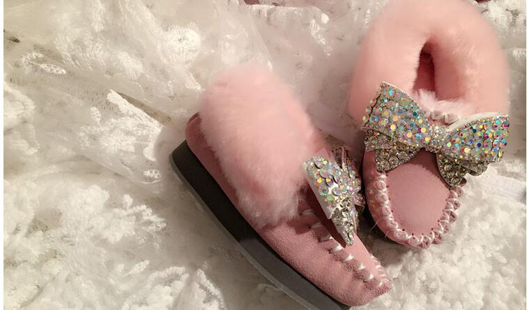 Exclusive custom children's big children rhinestones bow control fur one doll shoes flat peas parent-child shoes