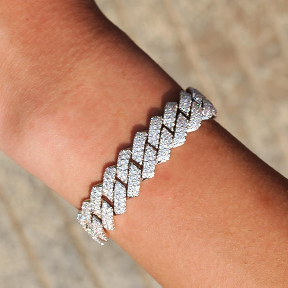 Bracelet glacé de la chaîne de liaison cubaine de 13mm pour hommes bijoux de hip-hip zircon cubiques pour homme