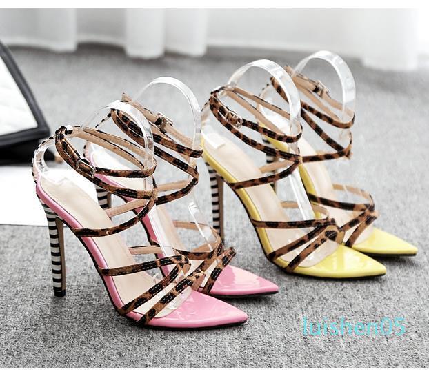 Sıcak Satış-2020 Seksi pembe sarı çizgili leopar 40 AL05 için çapraz bantlı yüksek topuklu sandaletler tasarımcı lüks kadın slaytlar boyutunu 35 basılmış