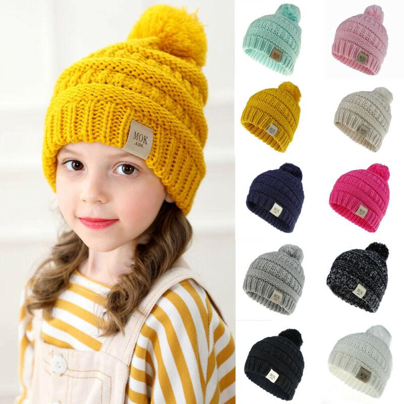 US Newborn Toddler Baby Girls Boys Hats Warm Winter Knitted Wool Hemming Hat Cap