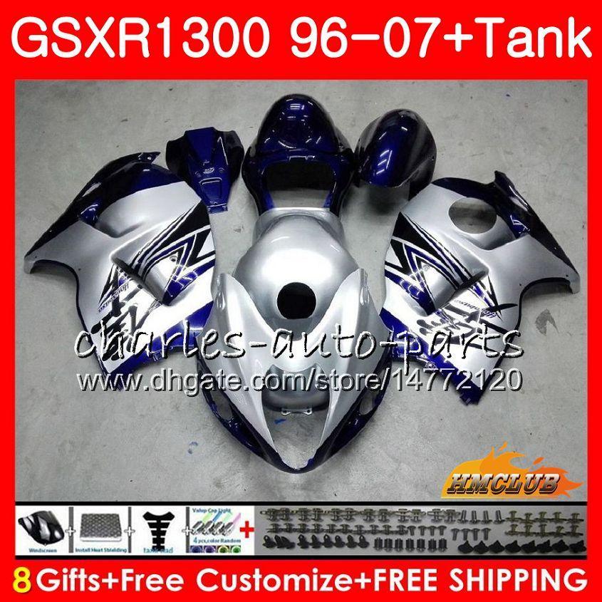 Kit per SUZUKI Hayabusa GSX-R1300 1996 1997 blu argento 1998 2007 24HC.32 GSXR 1300 GSXR1300 96 97 98 99 00 01 02 03 04 05 06 07 Carenature