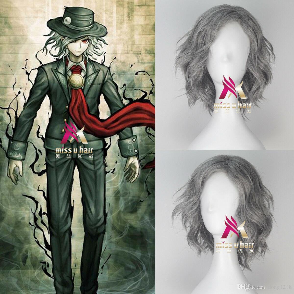 Perruque cosplay gris jeu court ruban bouclé