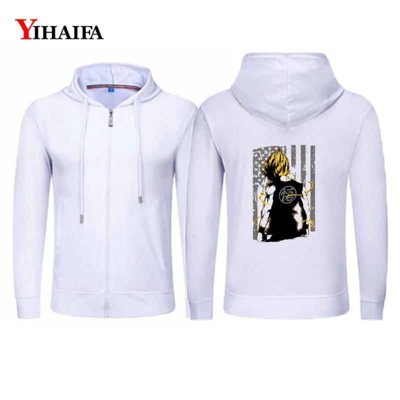 YIHAIFA Sweatshirt à capuche Homme Veste Zipper Printemps Casual Survêtement Goku Graphics Hoodies Zip Coat