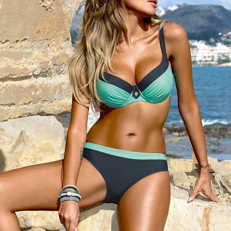 Roupa de banho para mulheres Color Printing Tanquini de Mulheres rígido Stripe Swimwear Moda Underwire Reunidos Swimsuit Dividir Bikini
