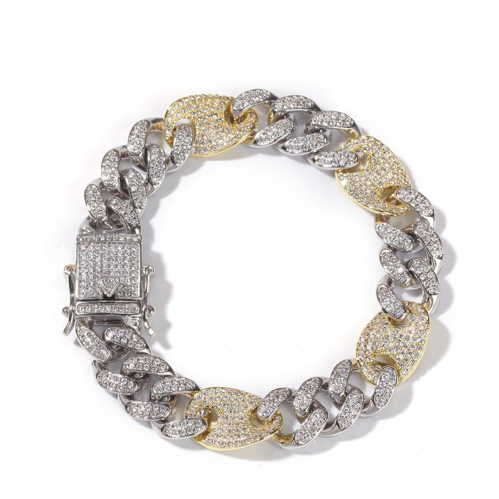 2019 Мужская Hip Hop ЗОЛОЧЕНИЕ Marine Link Iced Out Bling цепи ожерелье Браслеты цепи 8inch 7inches Link