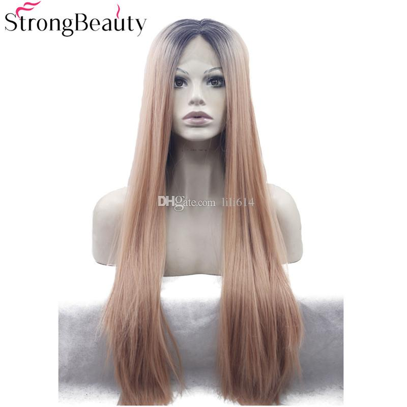 Long Straight Lace Front Wig Synthetic Ombre Strawberry Blonde mix Bleach Blonde Lace Front Wig