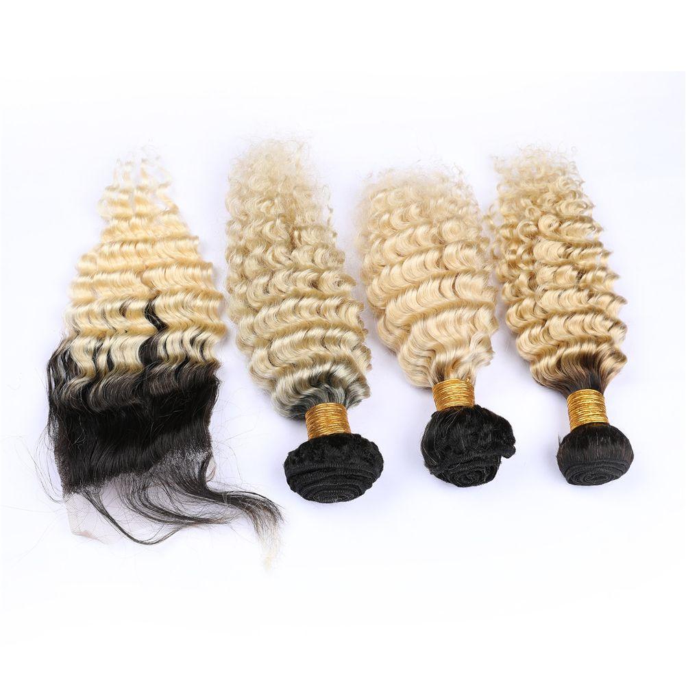 """India Ombre haz de pelo con el encierro del pelo humano del 100% con el encierro 4"""" '4' ondulado profundo # 1B / # 613 Ombre paquetes de pelo con el encierro"""