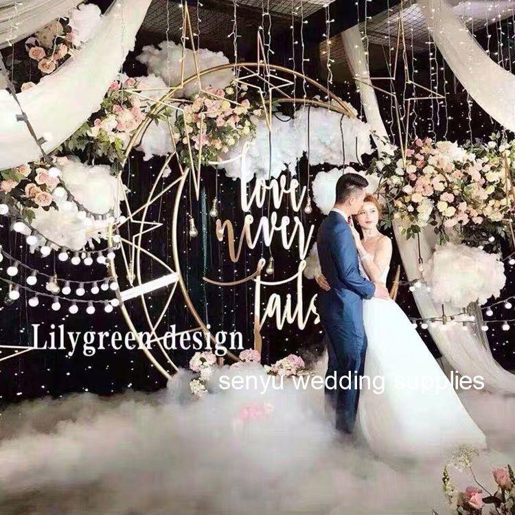 New style Floral decoration metal frame wedding stage round mesh backdrop senyu0030