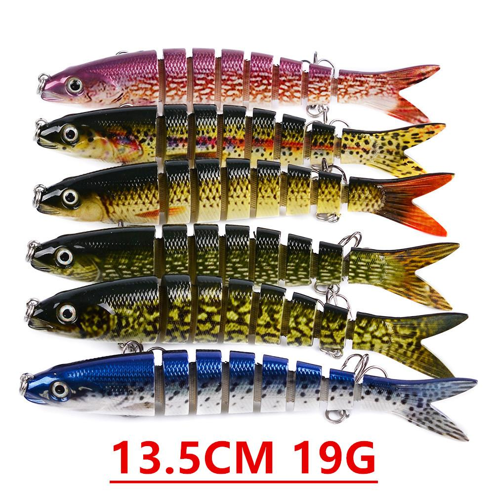 1pcs 12 Cor 13,5 centímetros 19g Multi-seção de anzóis anzóis 6 # gancho plástico rígido Iscas Lures Pesca Pesqueiro Acessórios V-125