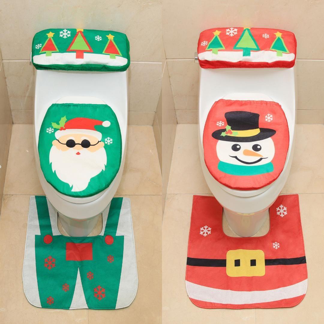 New Santa snowman toilet seat three-piece creative Christmas toilet set decorated Christmas home decoration