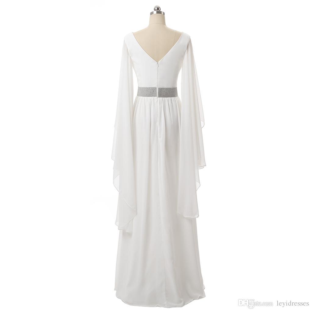 Großhandel Günstige Wunderschöne Sparkly V Ausschnitt A Line Elegante  Abendkleider Lange Slevess Puplum Kleid Pageant Celebrity Kleider Custom  Made