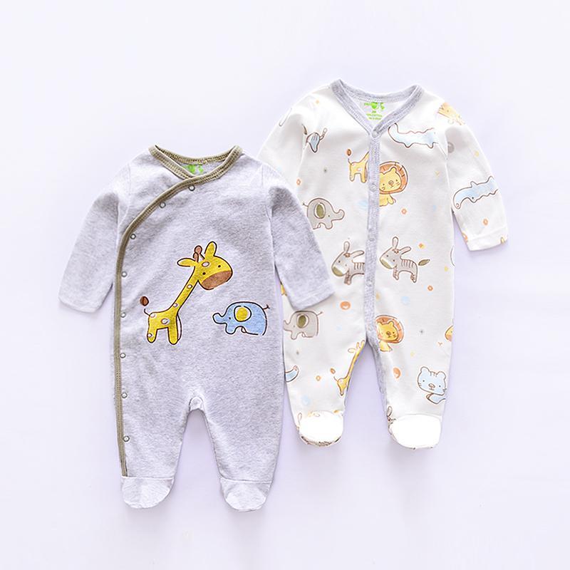 2019 мультфильм стиль животных хлопок младенцев боди комбинезоны для новорожденных новорожденных одежда с длинным рукавом детский комбинезон 2 шт. / Лот MX190720