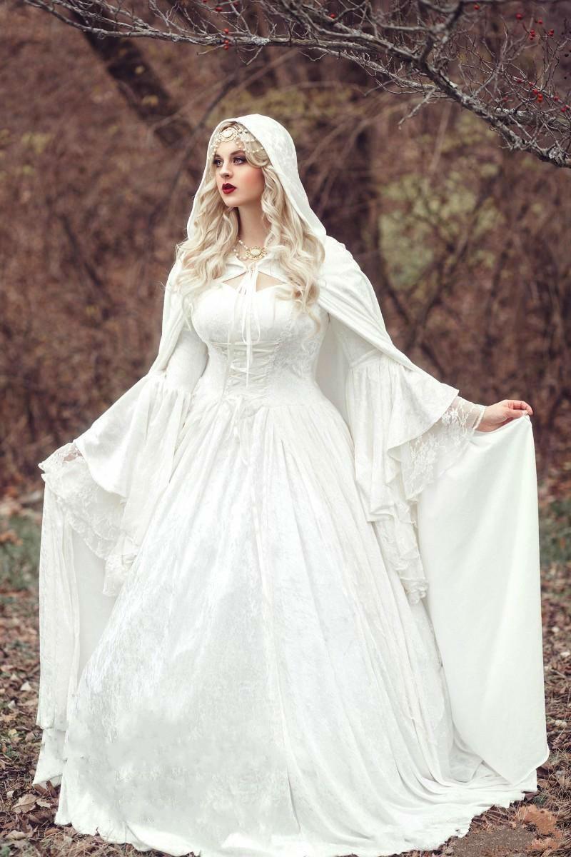 Renaissance Gótico laço vestido de esfera vestidos de noiva com casaco plus tamanho vintage manga comprida celta princesa medieval casamento vestidos nupciais