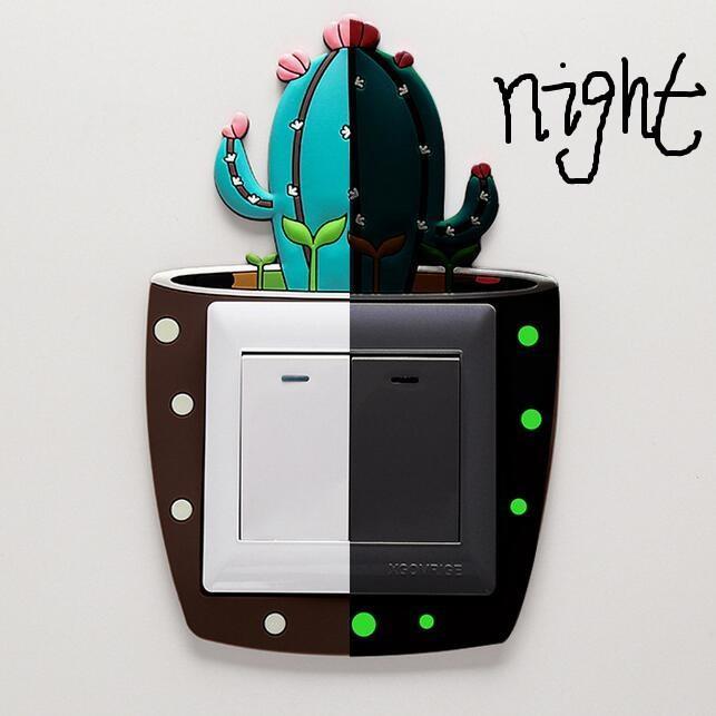 3D de dibujos animados lindo Cactus fluorescente pared de silicona de encendido y apagado del interruptor pegatinas Niños luz luminosa salidas para el hogar Decoración