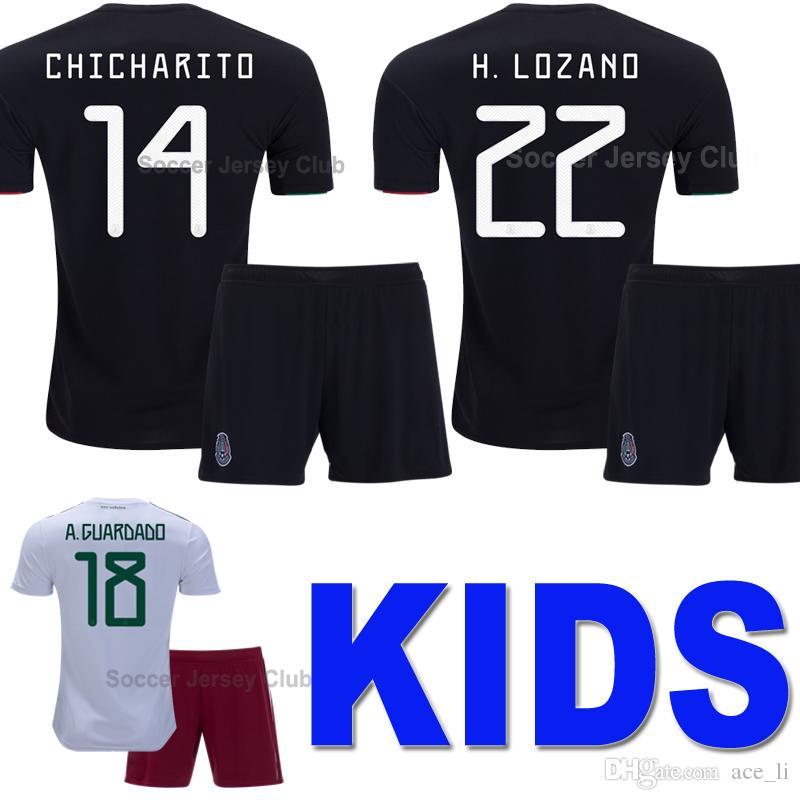 2020 Mexico Camisetas de fútbol para niños Gold Cup CHICHARITO LOZANO CHUCKY Kids kits soccer jersey football shirt Uniforme chicos Youth G DOS SANTOS Calidad tailandesa