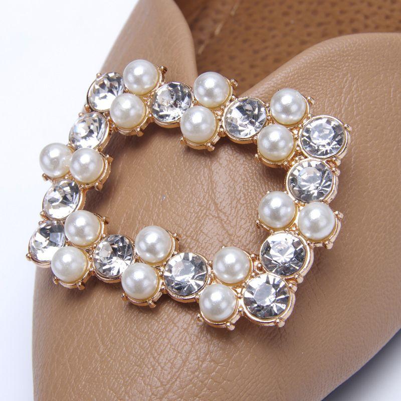Crystal Shoe Clip Decoration Faux Pearl Shoe Clips Bridal Shoes Rhinestone Clip Buckle Decorative Shoes Accessories