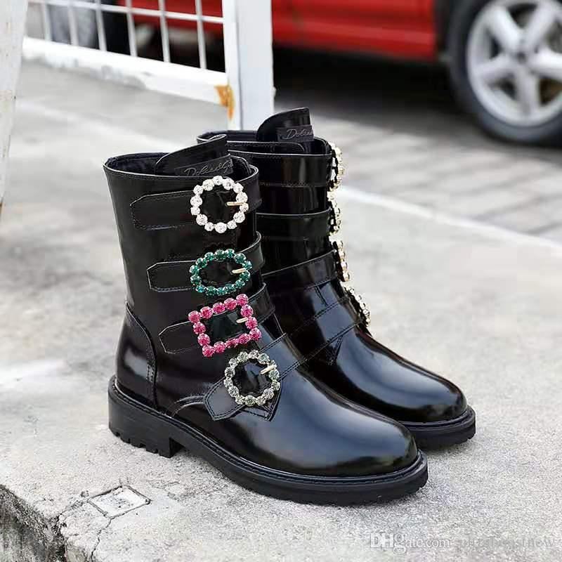 Üst Kalite Boyut 35-41 Artan Yeni Moda Tasarımcısı Ayakkabı Kadınlar Gerçek Deri Yüksek Üst Kayma-On Geometrik Sequind Dekorasyon Yükseklik
