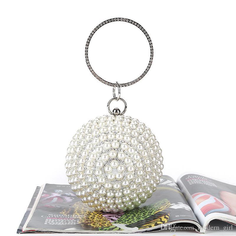 Donne Pearl White frizione della borsa di cerimonia nuziale della festa nuziale di promenade della borsa sacchetto di sera nuziale accessori in argento avvolge
