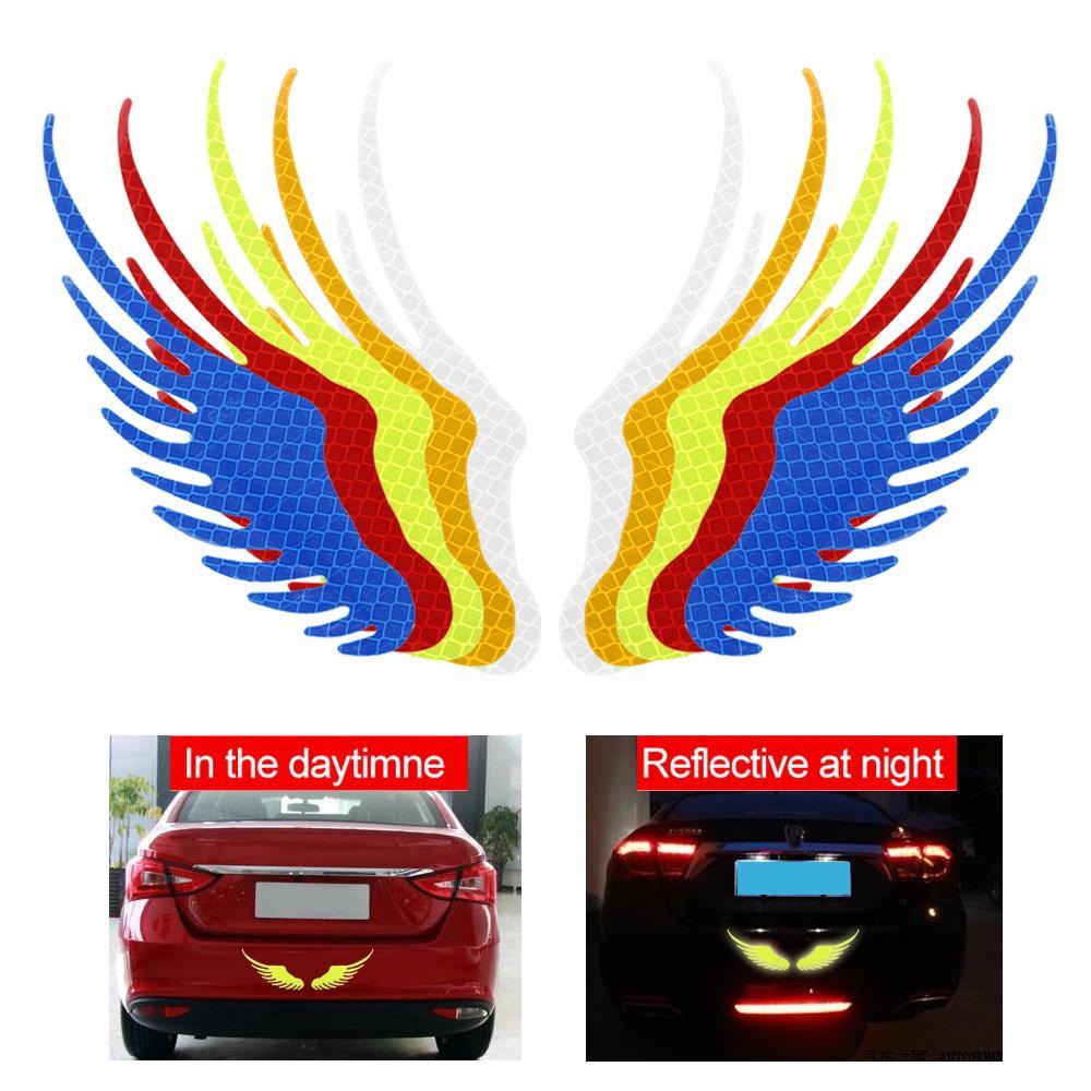 1 colle PC collage Angel Wings Revêtement scratch réfléchissant sécurité Panneau d'avertissement autocollant de voiture Auto Moto Vélo Decal Decal