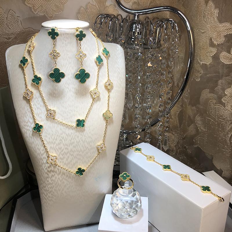 Hot Marca 925 Jóias de prata do casamento Set Colar Folha Mulheres Colar da cor do ouro para Green Clover brincos pulseira conjunto