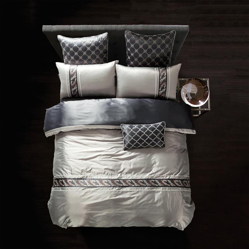 Tencel Baumwolle Stickerei Bettwäsche-Set König Queen Size Tröster Bettbezug-Set Bedsheet / Pillowcase Bettwäsche Bettwäsche