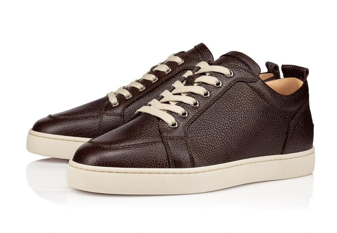 O melhor presente Marca Red Brown Leather inferior Homens Sneakers sapatos baixos Rantulow Júnior Plano homens rudes Grain skinleather instrutor Outdoor Branco Preto