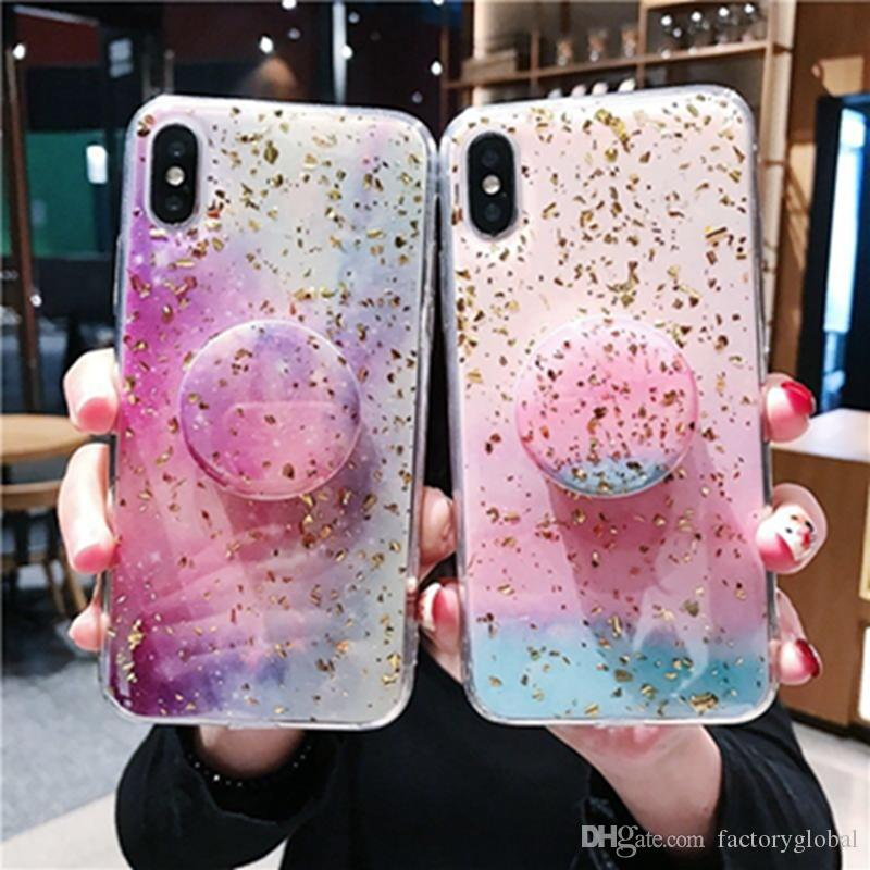 Universal Creative Soft TPU Cherry Blossoms Pattern Phone Case Cover with Expandable Grip Cell Phone Holder Stand for iPhone XS XR