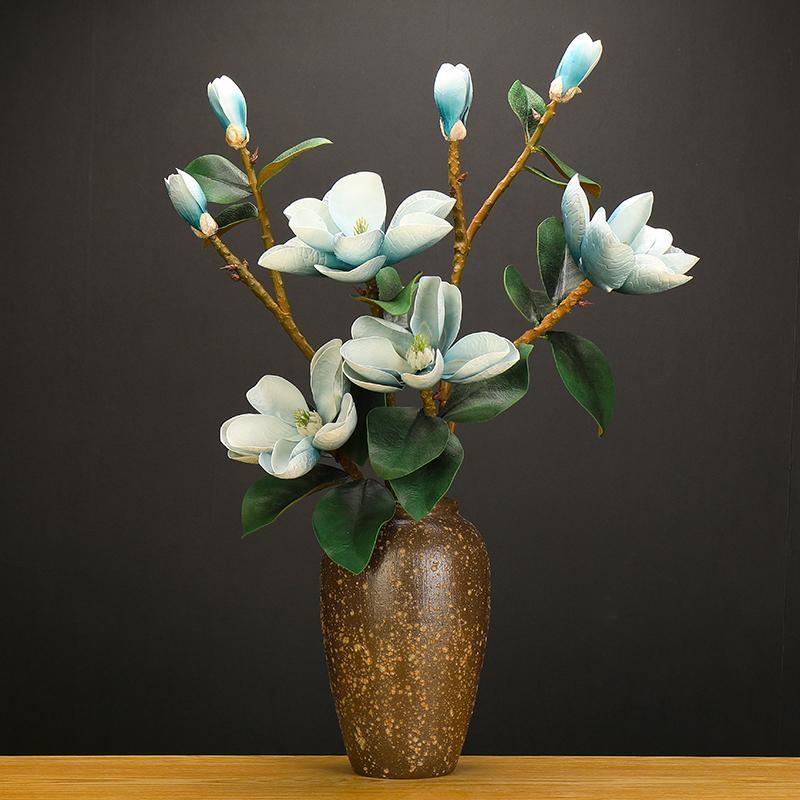 Manolya Yapay Çiçekler 2020 YENİ PU Büyük Sahte Çiçek Teddy Taze Lacivert Flores Artificiales De Alta Calidad Dekorasyon