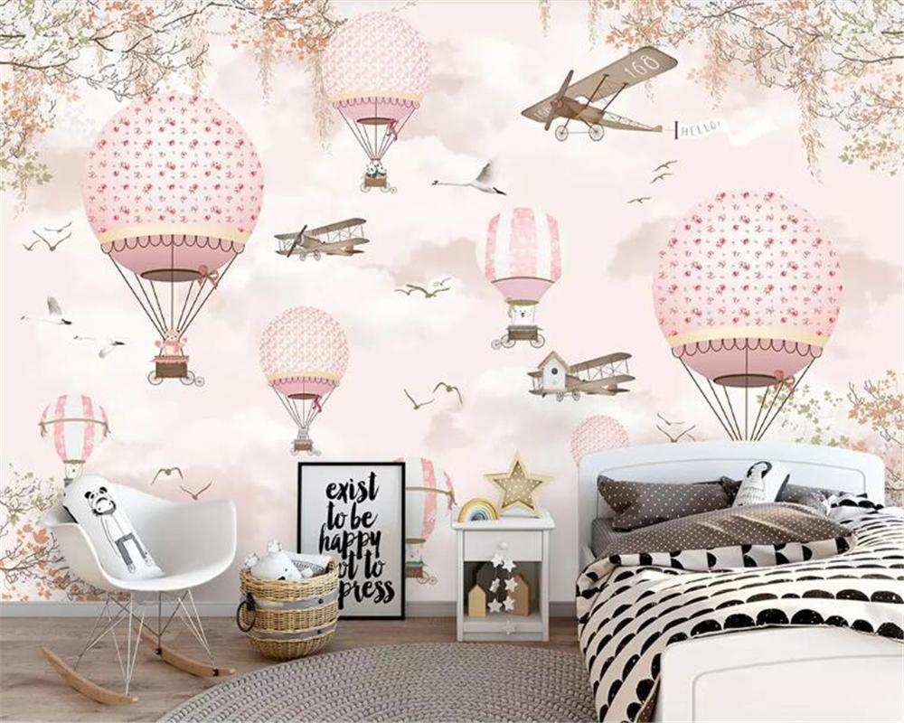 Cartoon Hot Air Balloon 3d Wallpaper Children\'S Bedroom Wallpaper  Decorative Mural 6 Photos Pink Blue Wallpapers Wallpaper Widescreen High  Resolution ...