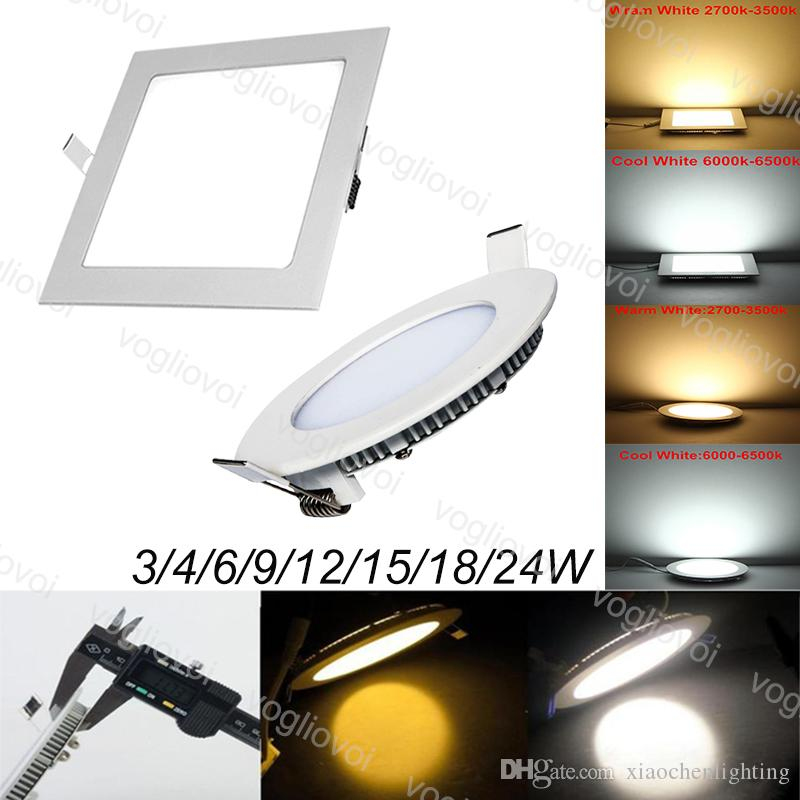 Downlights 24W 18W 15W Round Square Recessed Ultra Thin Aluminum Acrylic Side Emitting SMD2835 For Office Hospital Living Room EUB