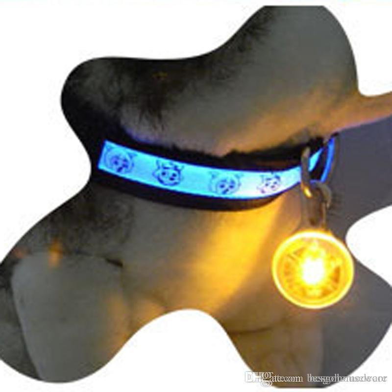 Pet Dog Illuminated Collar Waterproof Safety LED Light Pendant Bell Dog Cat Night Walking Lights Dog Pendants Flashing Led Collar BC BH0983