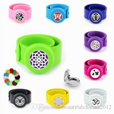 1PCS Butterfly Flower Tree Mosquito Repellent diffuser Bracelet Bangle Steel 25mm Locket Silicone Wristband For Kids Women Men Free 10p Pads