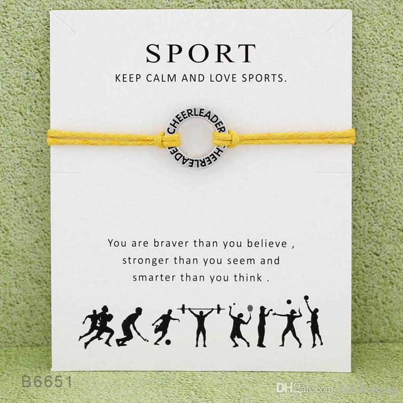 치어 리더 SPORT 수제 밧줄 매력 팔찌 여성을위한 남자 친교 성명 카드와 함께 최고의 소원 보석 선물