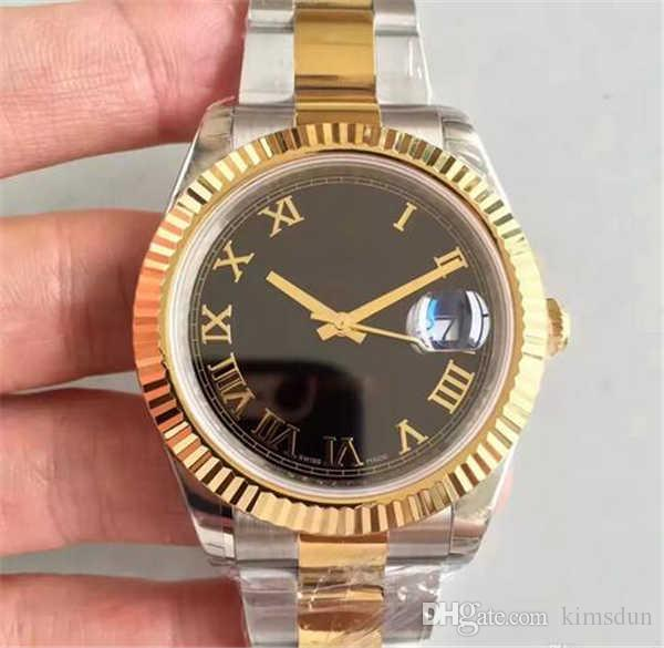 28 Klasik lüks İzle 18 K altın çerçeve 41 MM Safir TARİH tarzı otomatik hareketi orijinal katlanır toka gümüş altın kayış İzle Saatler W