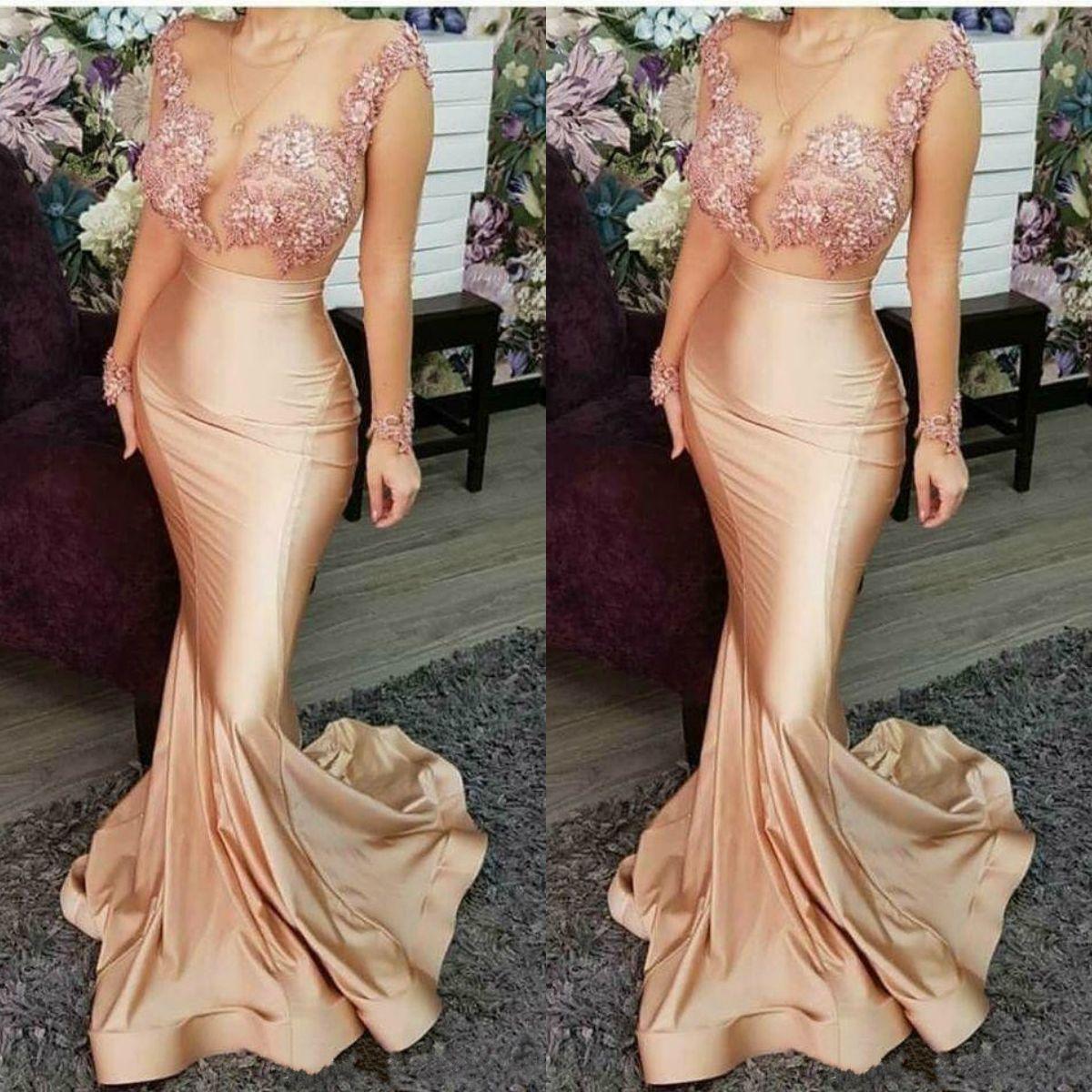 Champagne Sexy Mermaid 2019 Abendkleider Sheer Neck Long Sleeves Perlen Spitze Prom Dresses Günstige Formale Party Brautjungfer Pageant Kleider