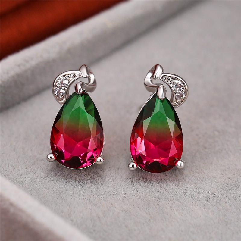 Orecchini fascino femminile Crystal Green Red fascino degli orecchini in oro rosa argento per le donne Carino da sposa geometrica