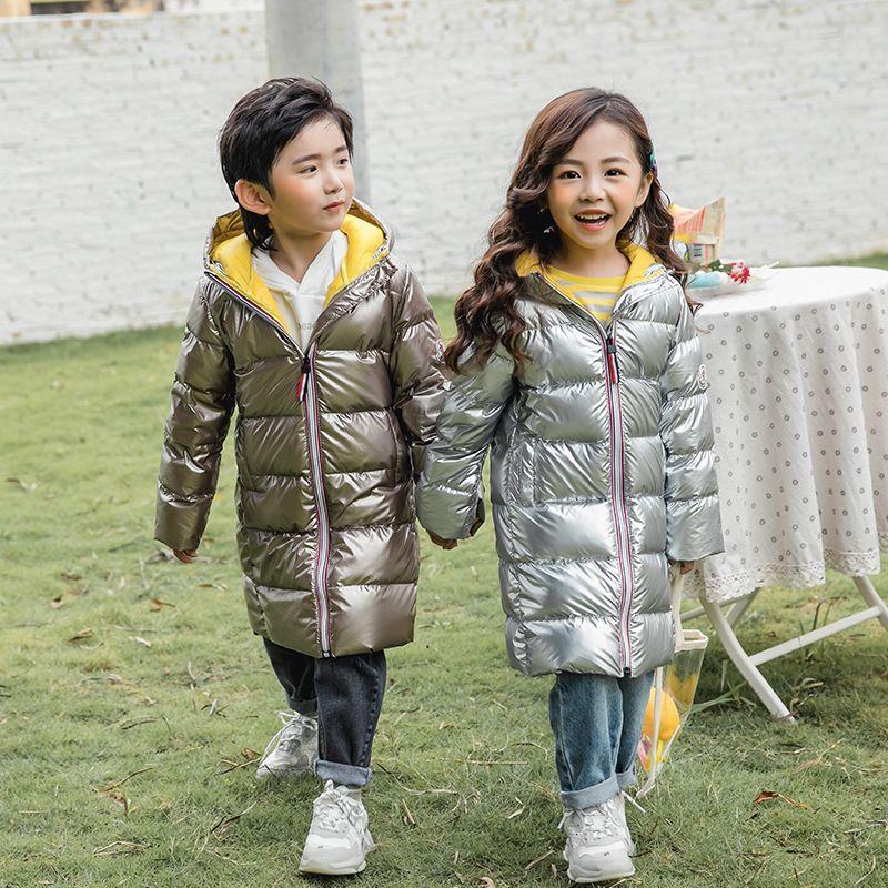 Mode Brillant Canard blanc d'hiver vers le bas Manteau enfant Bébés garçons filles Veste Réchauffez Enfants Tenues Bas Enfants Vêtements Pour 90-150cm