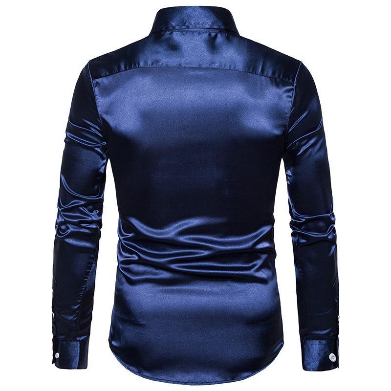 Полым из европейского кодекса мужской ярко-сталкиваются с длинными рукавами лацкан рубашки платья рубашки мужчин высокого качества досуга моды