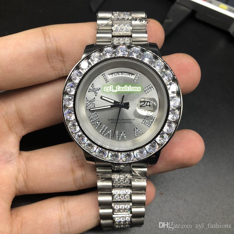 Лучшие Продажи Мужские Наручные Часы Серебряный Корпус Из Нержавеющей Стали Часы С Бриллиантами Безель Часы Серебряное Лицо Часы Автоматические Механические Часы