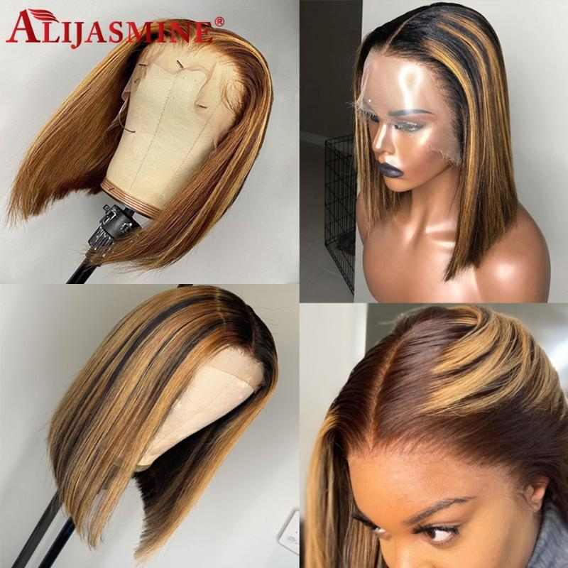 #4 27 Highlight Wig Ombre Brown Honey Blonde Short Bob Wig 13x6 Lace Front Human Hair Wigs For Women Brazilian Remy Colored Wigs