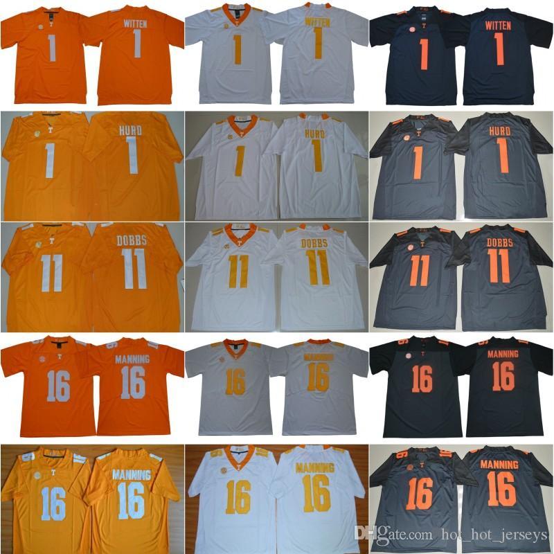 NCAA Теннесси Добровольцы 16 Пейтон Мэннинг Джерси Мужчины Джейсон Виттена 1 Jalen Hurd 11 Джошуа Доббс колледж SEC Мужчины прошитой Оранжевый Серый Белый